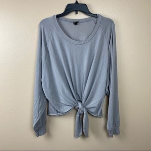 NUDE tie front gray long sleeve blouse athleisure